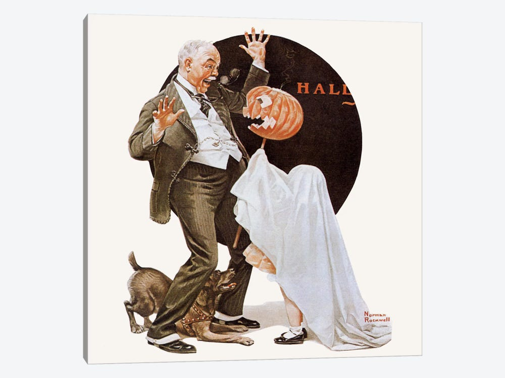 Grandfather Frightened by Jack-O-Lantern 1-piece Canvas Art Print
