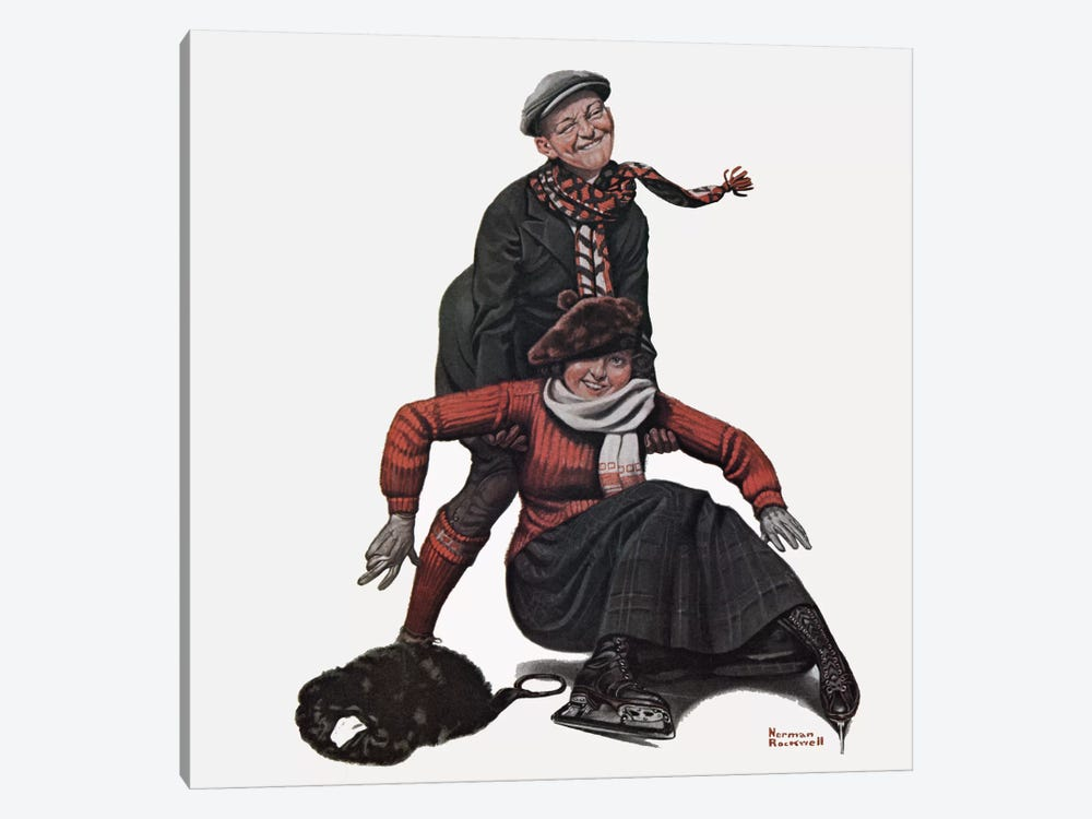 The Novice Skater by Norman Rockwell 1-piece Canvas Art