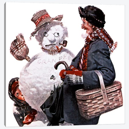 Grandfather and Snowman Canvas Print #NRL84} by Norman Rockwell Canvas Print