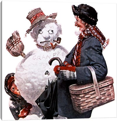 Grandfather and Snowman Canvas Print #NRL84