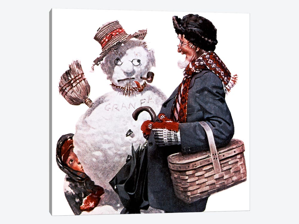 Grandfather and Snowman by Norman Rockwell 1-piece Canvas Art Print