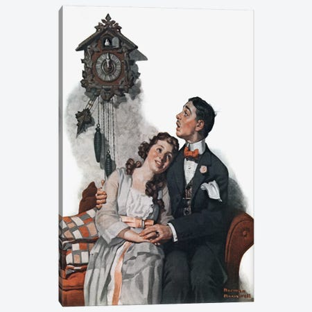 Courting Couple at Midnight Canvas Print #NRL86} by Norman Rockwell Art Print