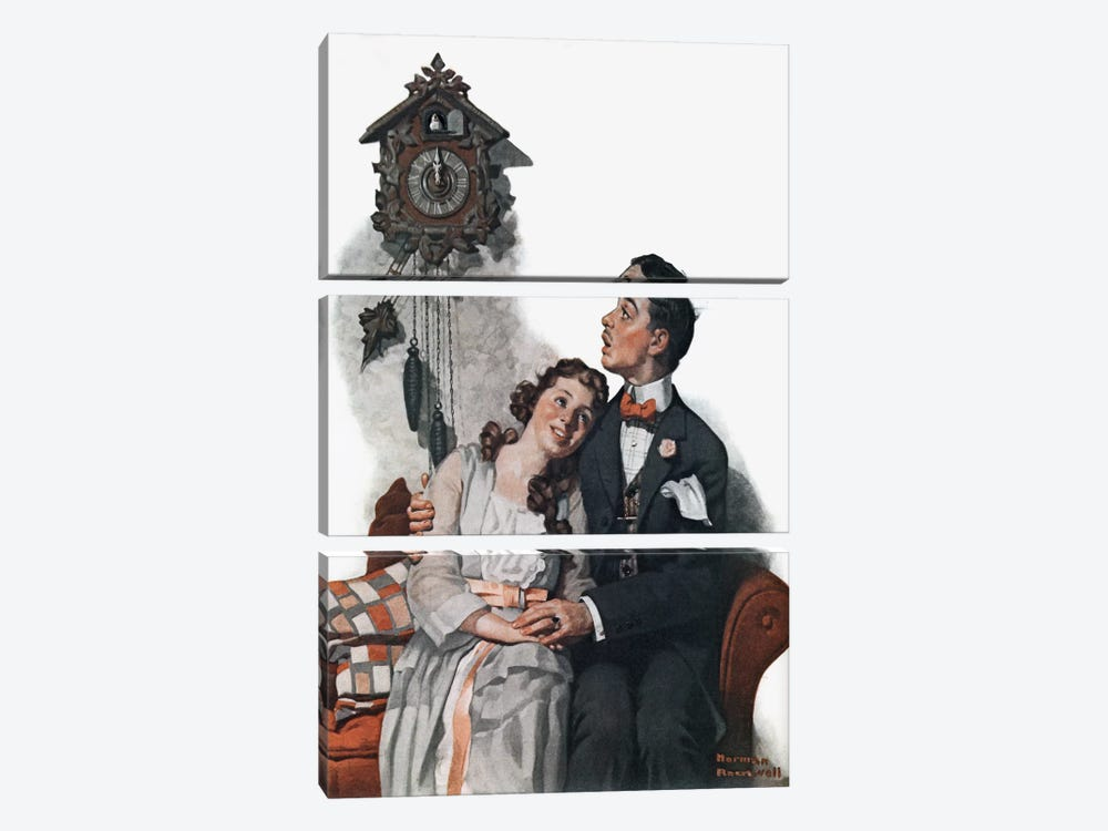 Courting Couple at Midnight by Norman Rockwell 3-piece Canvas Art Print