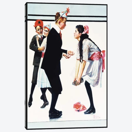 Children Dancing at Party Canvas Print #NRL87} by Norman Rockwell Art Print