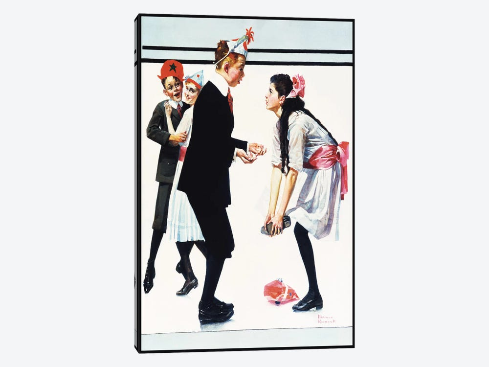 Children Dancing at Party by Norman Rockwell 1-piece Canvas Art