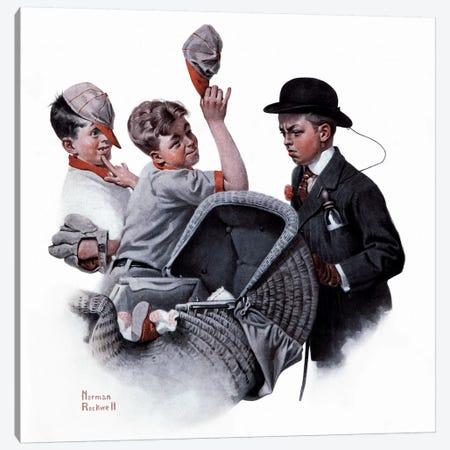 Boy with Baby Carriage  Canvas Print #NRL88} by Norman Rockwell Canvas Art