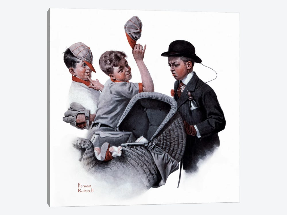 Boy with Baby Carriage by Norman Rockwell 1-piece Canvas Print