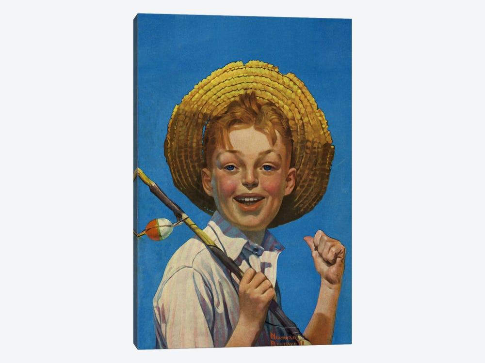 Boy with Fishing Pole by Norman Rockwell 1-piece Canvas Print