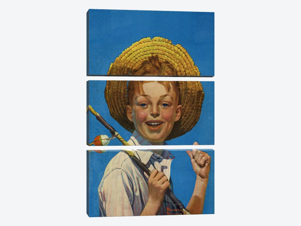 Boy with Fishing Pole by Norman Rockwell 3-piece Canvas Art Print