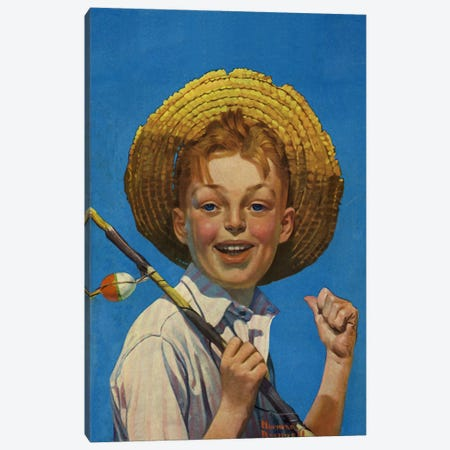 Boy with Fishing Pole Canvas Print #NRL91} by Norman Rockwell Art Print