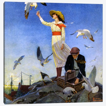 Picnic on a Rocky Coast Canvas Print #NRL92} by Norman Rockwell Art Print