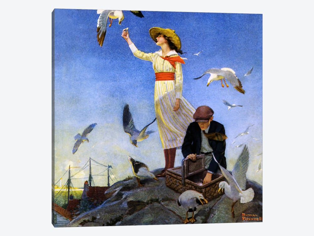Picnic on a Rocky Coast by Norman Rockwell 1-piece Canvas Art
