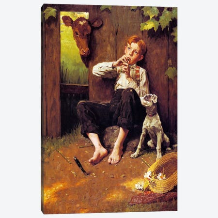 Barefoot Boy Playing Flute Canvas Print #NRL93} by Norman Rockwell Art Print
