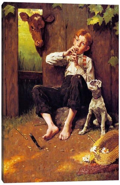 Barefoot Boy Playing Flute Canvas Print #NRL93