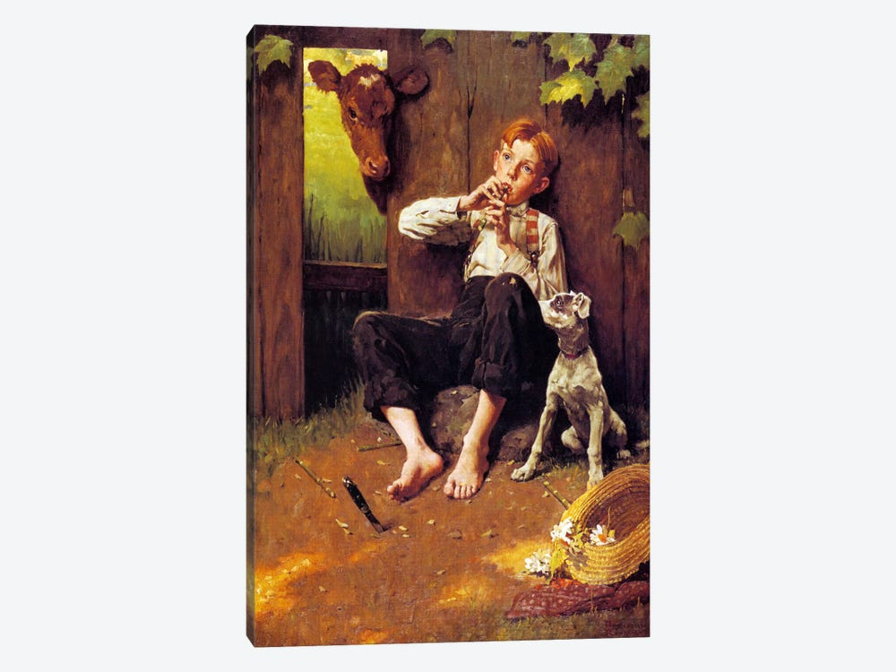 Barefoot Boy Playing Flute by Norman Rockwell 1-piece Canvas Art Print