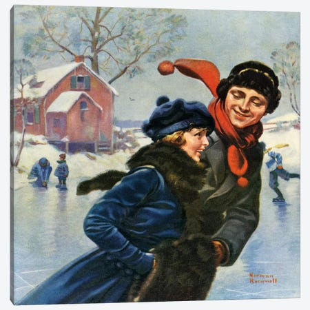 Couple Ice Skating Canvas Print #NRL94} by Norman Rockwell Canvas Art
