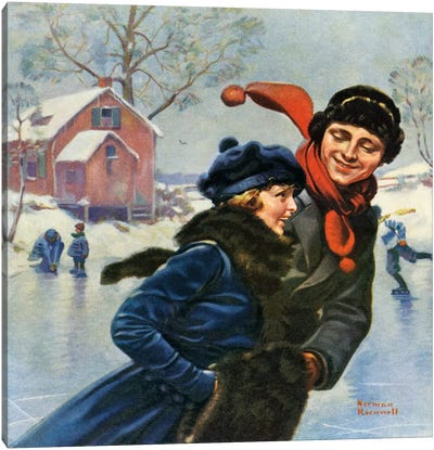 Couple Ice Skating Canvas Art Print