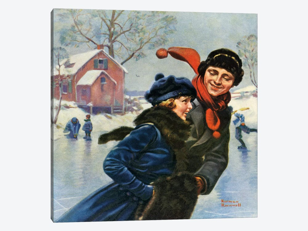 Couple Ice Skating by Norman Rockwell 1-piece Canvas Art