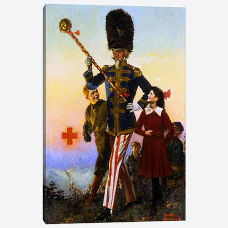 Uncle Sam Marching with Children Canvas Print #NRL95} by Norman Rockwell Canvas Wall Art
