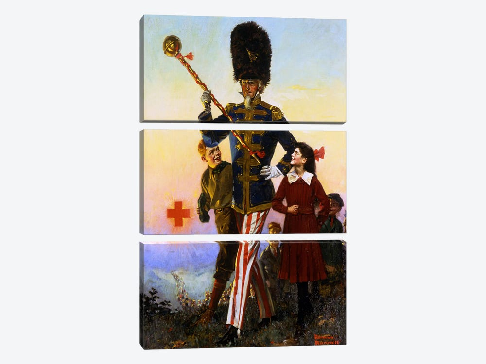 Uncle Sam Marching with Children by Norman Rockwell 3-piece Canvas Print
