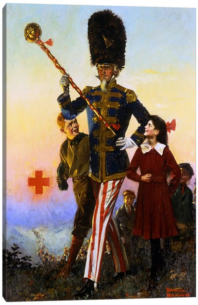 Uncle Sam Marching with Children Canvas Art Print