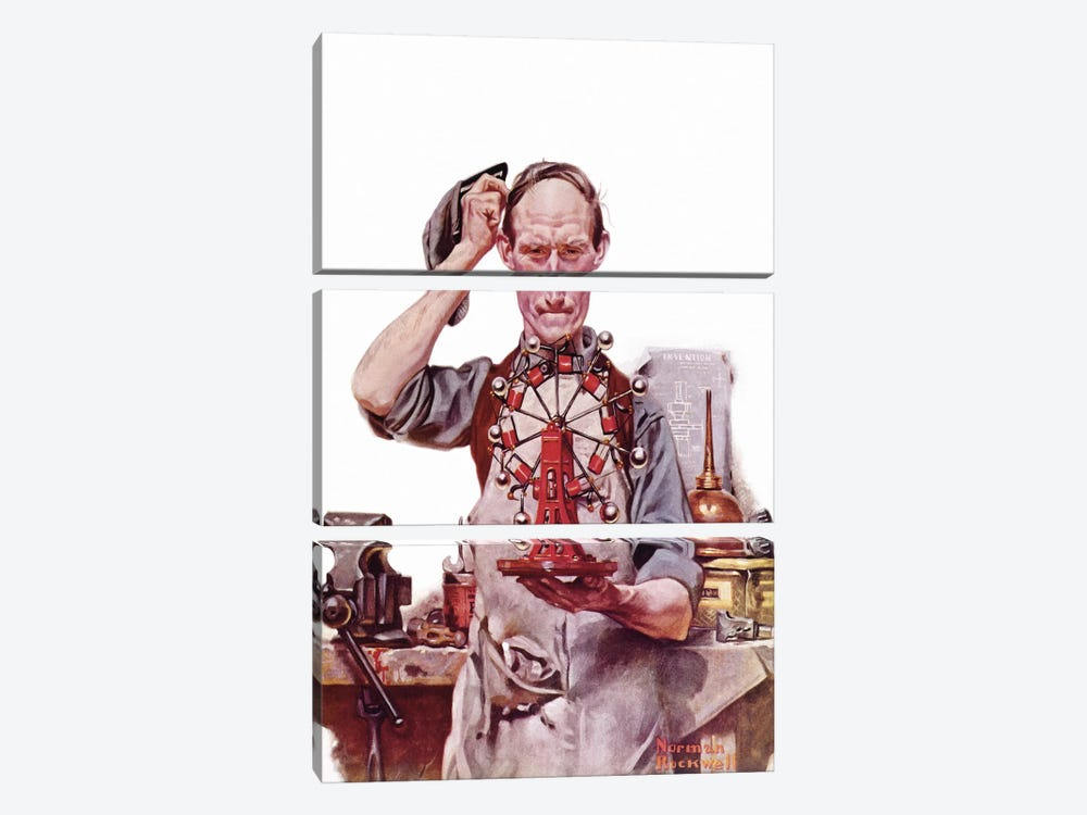 Perpetual Motion by Norman Rockwell 3-piece Art Print