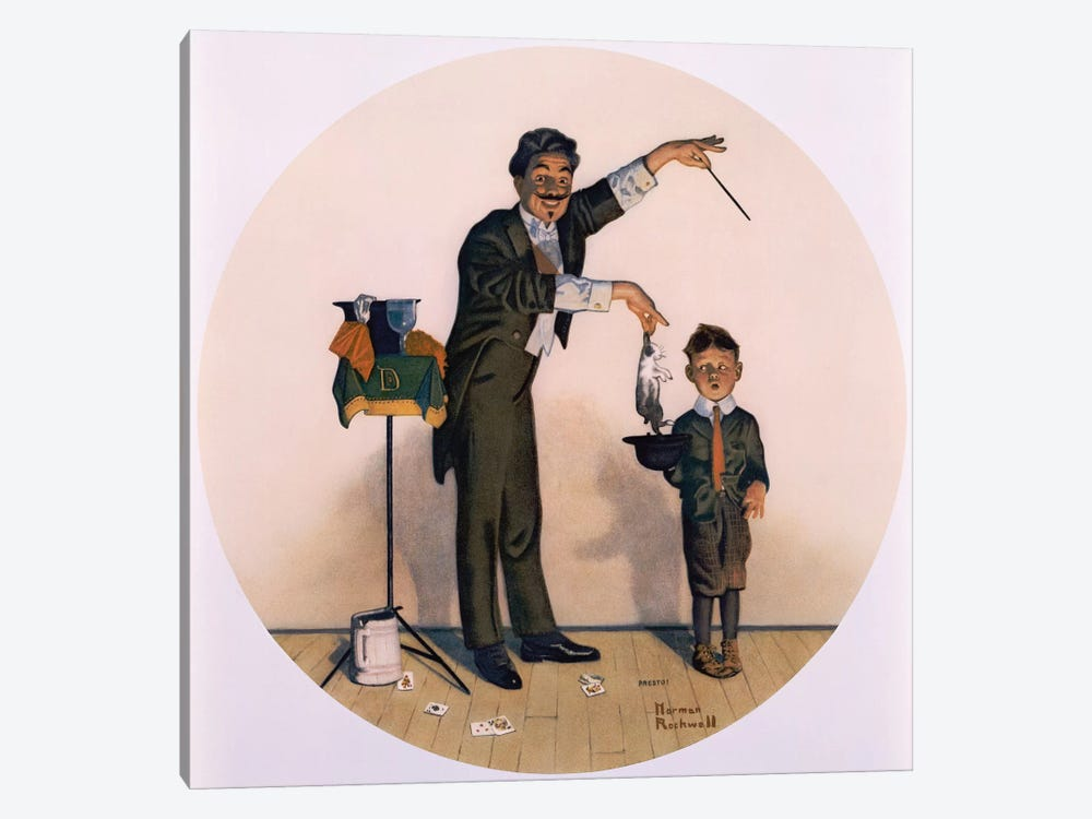 The Magician by Norman Rockwell 1-piece Canvas Wall Art