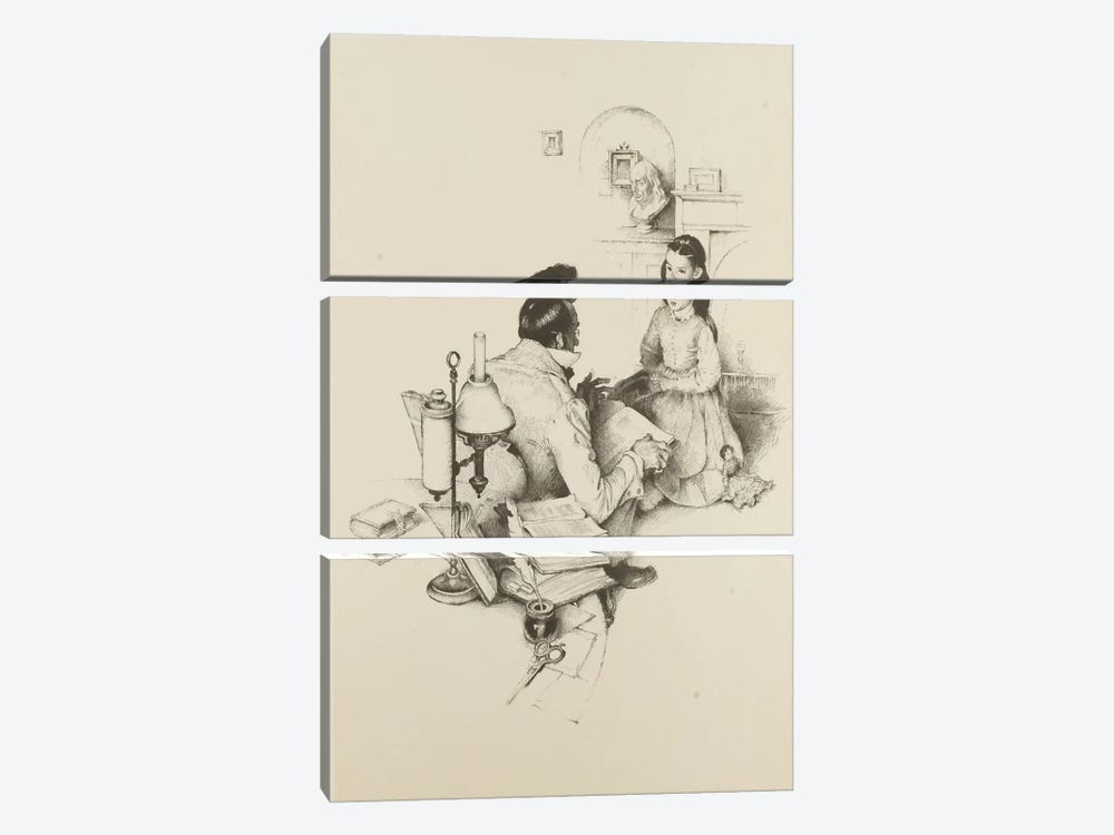 The Tutor by Norman Rockwell 3-piece Art Print