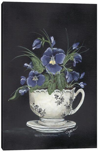 Tea Cup Violets Canvas Art Print