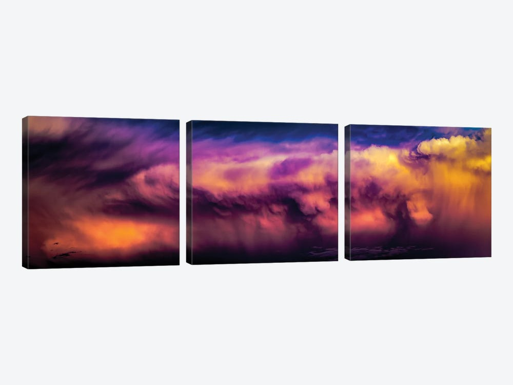 Panoramic Dramatic Purple Wolf Clouds by Nik Rave 3-piece Canvas Art Print