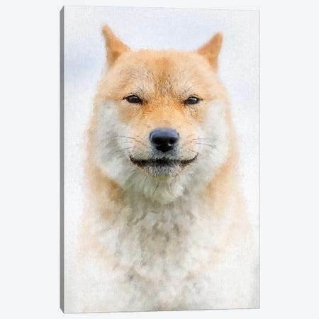Custodian Shiba Dog Painting Canvas Print #NRV144} by Nik Rave Canvas Artwork