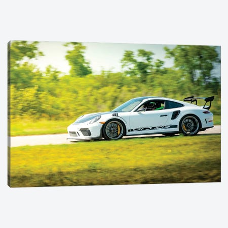 White Porsche Gt3 Rs In Motion Canvas Print #NRV155} by Nik Rave Canvas Art Print
