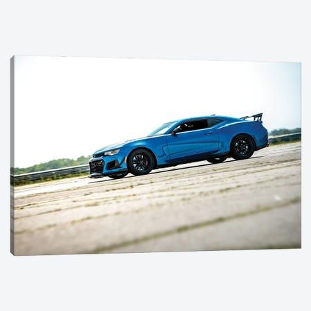 Blue Chevrolet Camaro Canvas Print #NRV161} by Nik Rave Art Print
