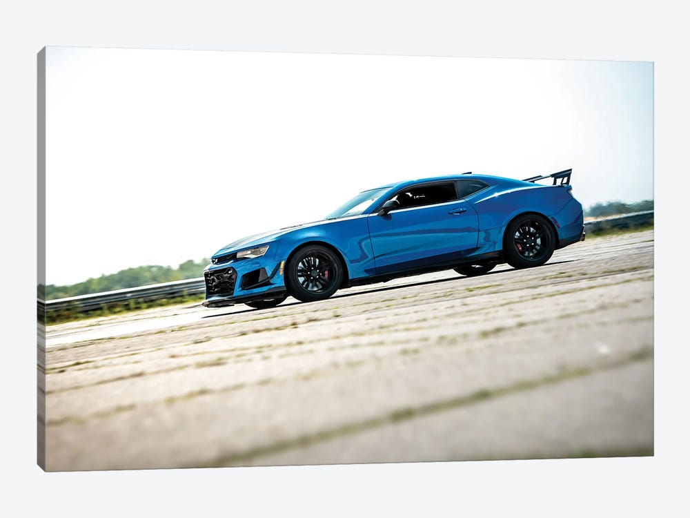 Blue Chevrolet Camaro by Nik Rave 1-piece Canvas Wall Art