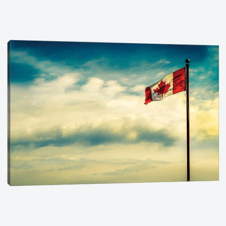 Canadian Flag Over Dramatic Sky Canvas Print #NRV168} by Nik Rave Canvas Print