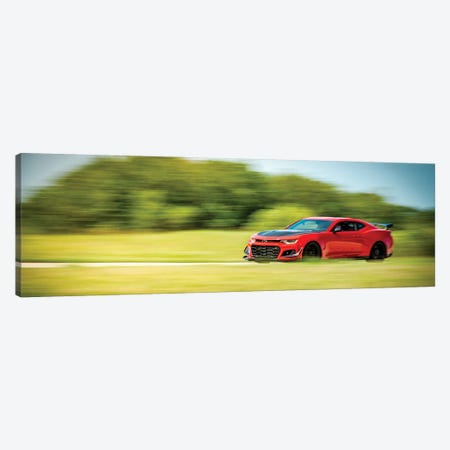 Red Chevrolet Camaro In Motion Canvas Print #NRV181} by Nik Rave Canvas Print