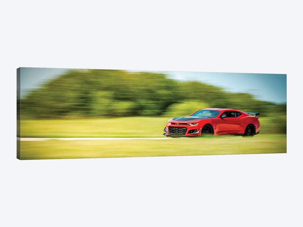 Red Chevrolet Camaro In Motion by Nik Rave 1-piece Canvas Wall Art