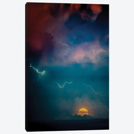 Big Moon And Striking Lightning Canvas Print #NRV190} by Nik Rave Canvas Artwork