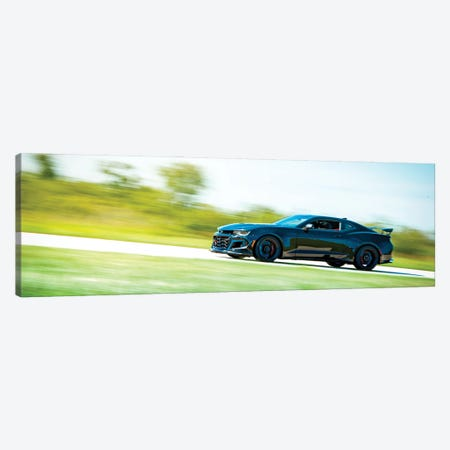 Blue Chevrolet Camaro In Motion Canvas Print #NRV193} by Nik Rave Canvas Art