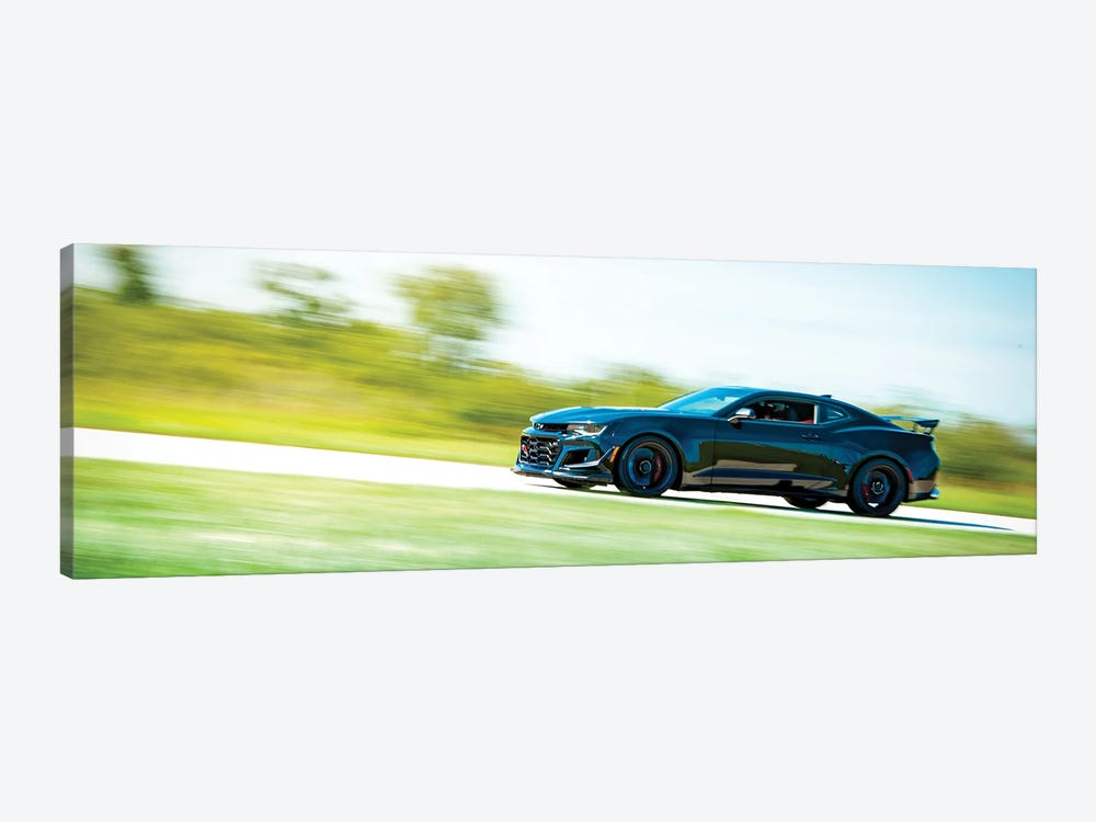 Blue Chevrolet Camaro In Motion by Nik Rave 1-piece Canvas Print