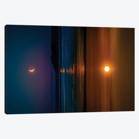 Sunset And Sunrise Canvas Print #NRV206} by Nik Rave Art Print