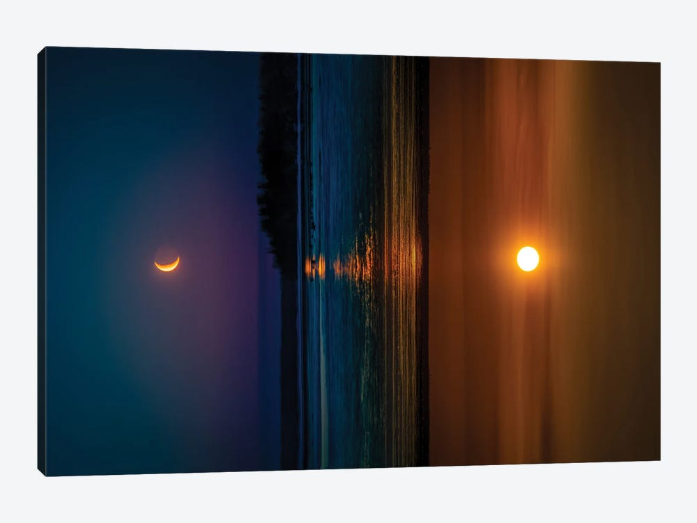 Sunset And Sunrise by Nik Rave 1-piece Canvas Print