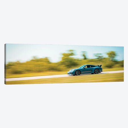 Blue Porsche On The Track In Motion Canvas Print #NRV215} by Nik Rave Canvas Wall Art