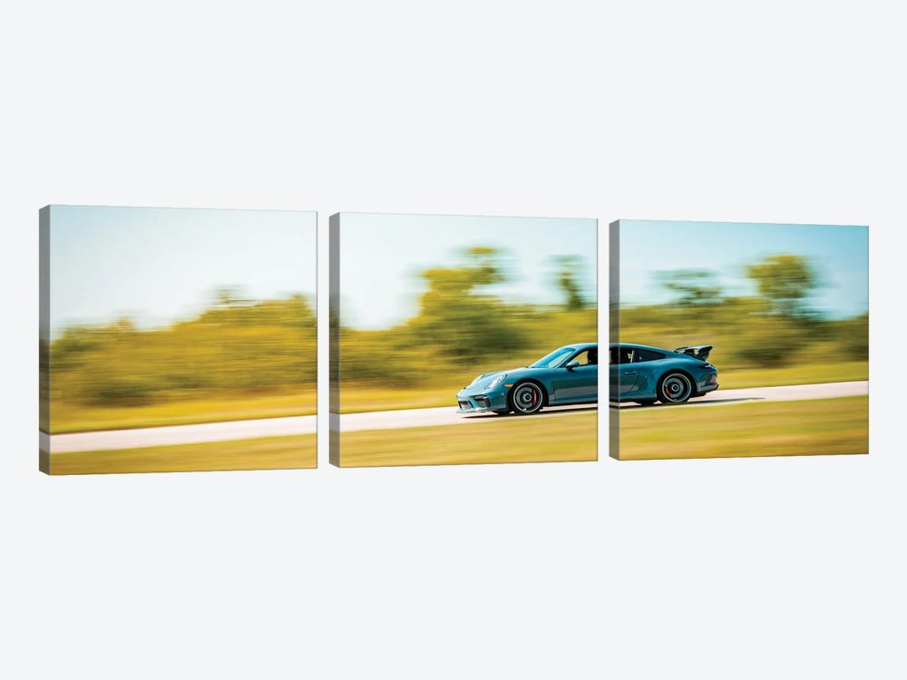 Blue Porsche On The Track In Motion by Nik Rave 3-piece Canvas Art Print