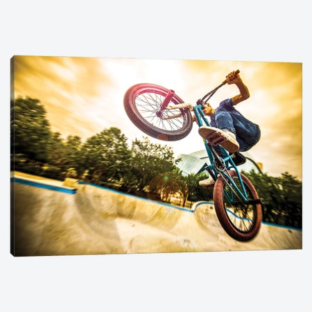 Bmx Bike In A Flight On The Ramp Up Close Going Up Canvas Print #NRV216} by Nik Rave Canvas Art