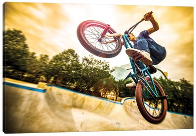 Bmx Bike In A Flight On The Ramp Up Close Going Up Canvas Art Print