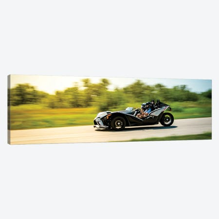 Polaris Slingshot On The Track In Motion Color Black Canvas Print #NRV218} by Nik Rave Art Print