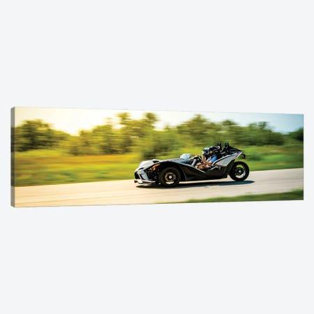 Polaris Slingshot On The Track In Motion Color Black Canvas Print #NRV218} by Nik Rave Art Print