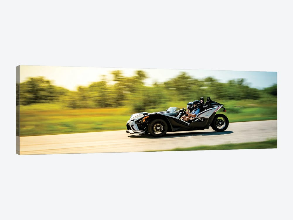 Polaris Slingshot On The Track In Motion Color Black by Nik Rave 1-piece Canvas Wall Art