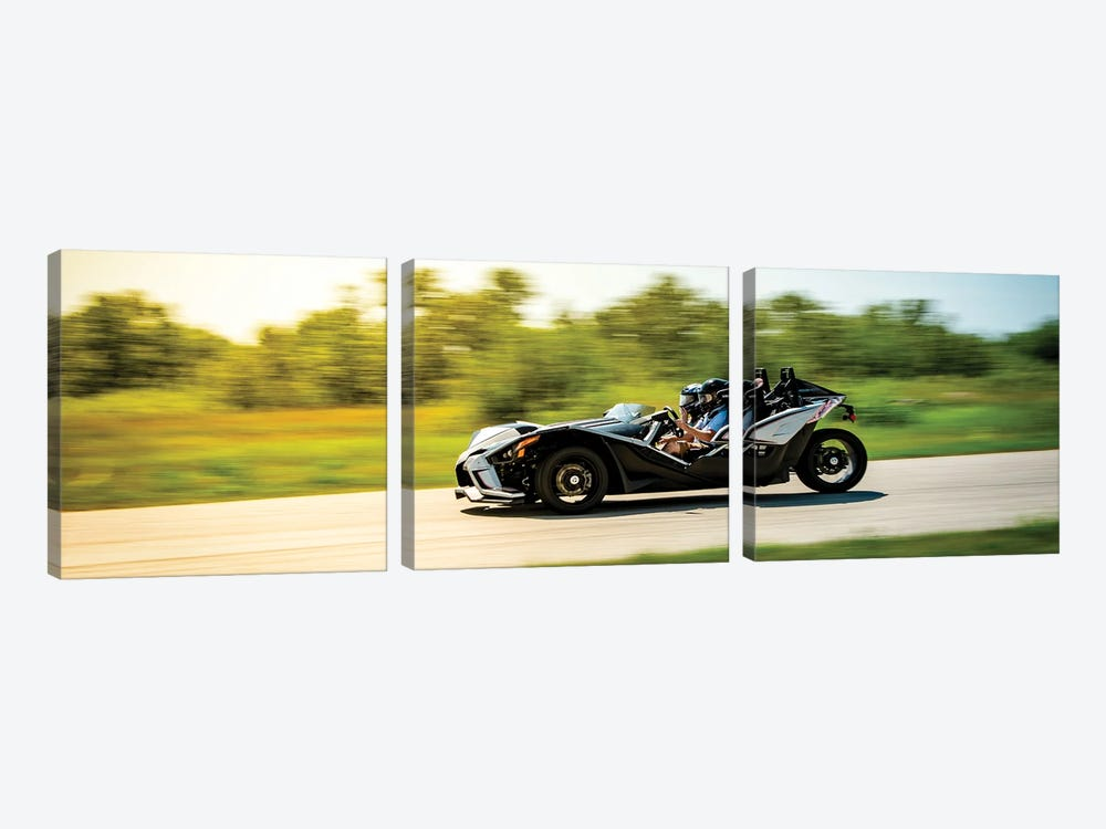 Polaris Slingshot On The Track In Motion Color Black by Nik Rave 3-piece Canvas Wall Art